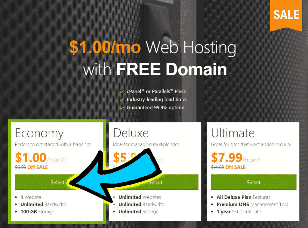 GoDaddy 1 dollar hosting plan coupon