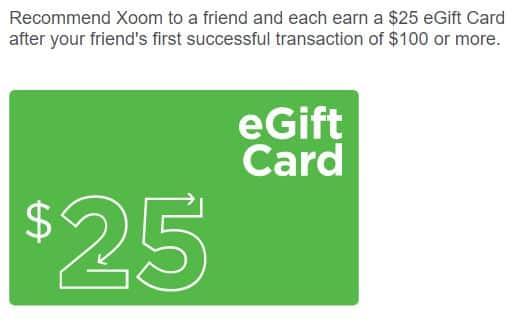 Xoom $25 giftcard