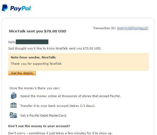 NiceTalk Tutor Payment Proof