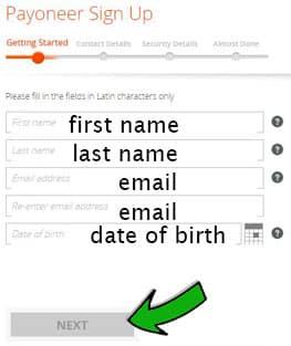 Payoneer mastercard account sign up form