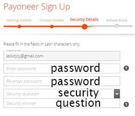 Payoneer sign up security details
