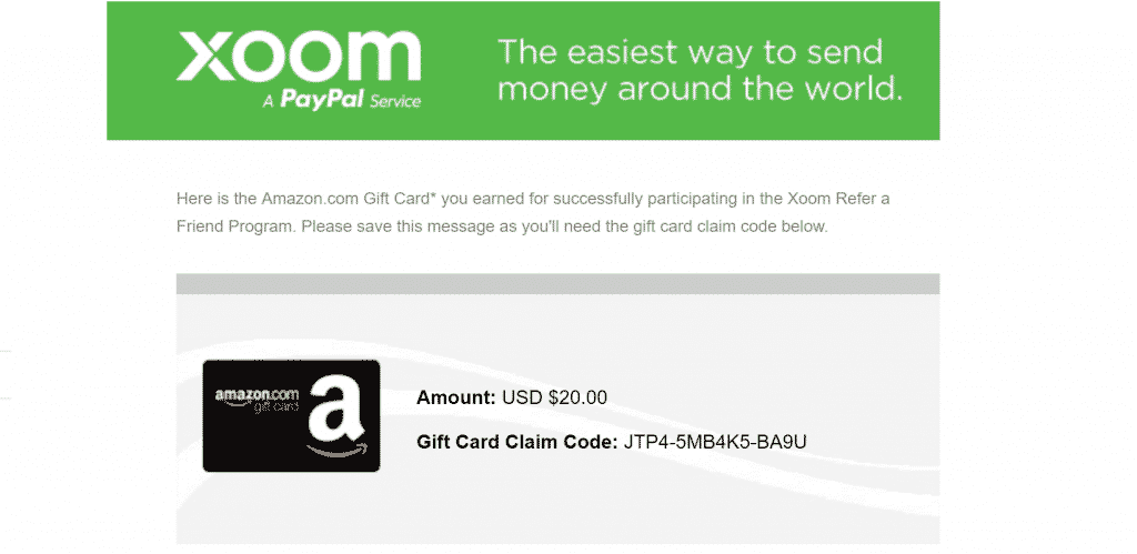 Xoom promo code giftcard