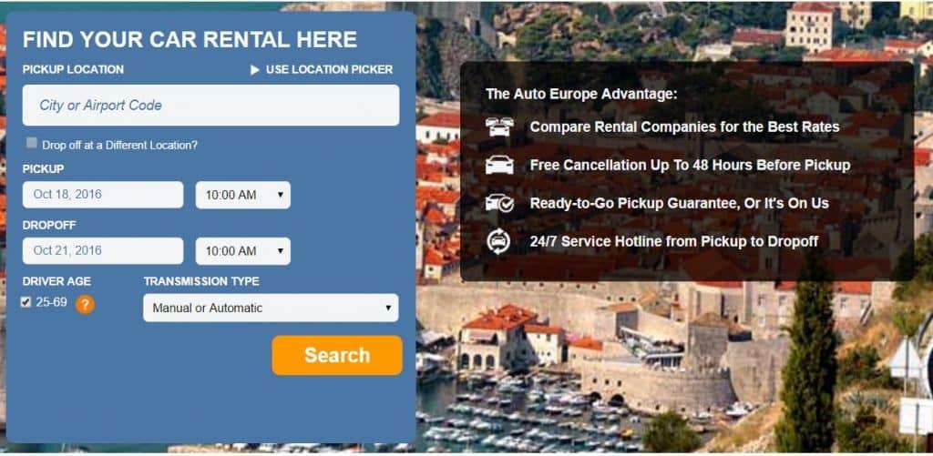 Auto Europe promo code car rentals