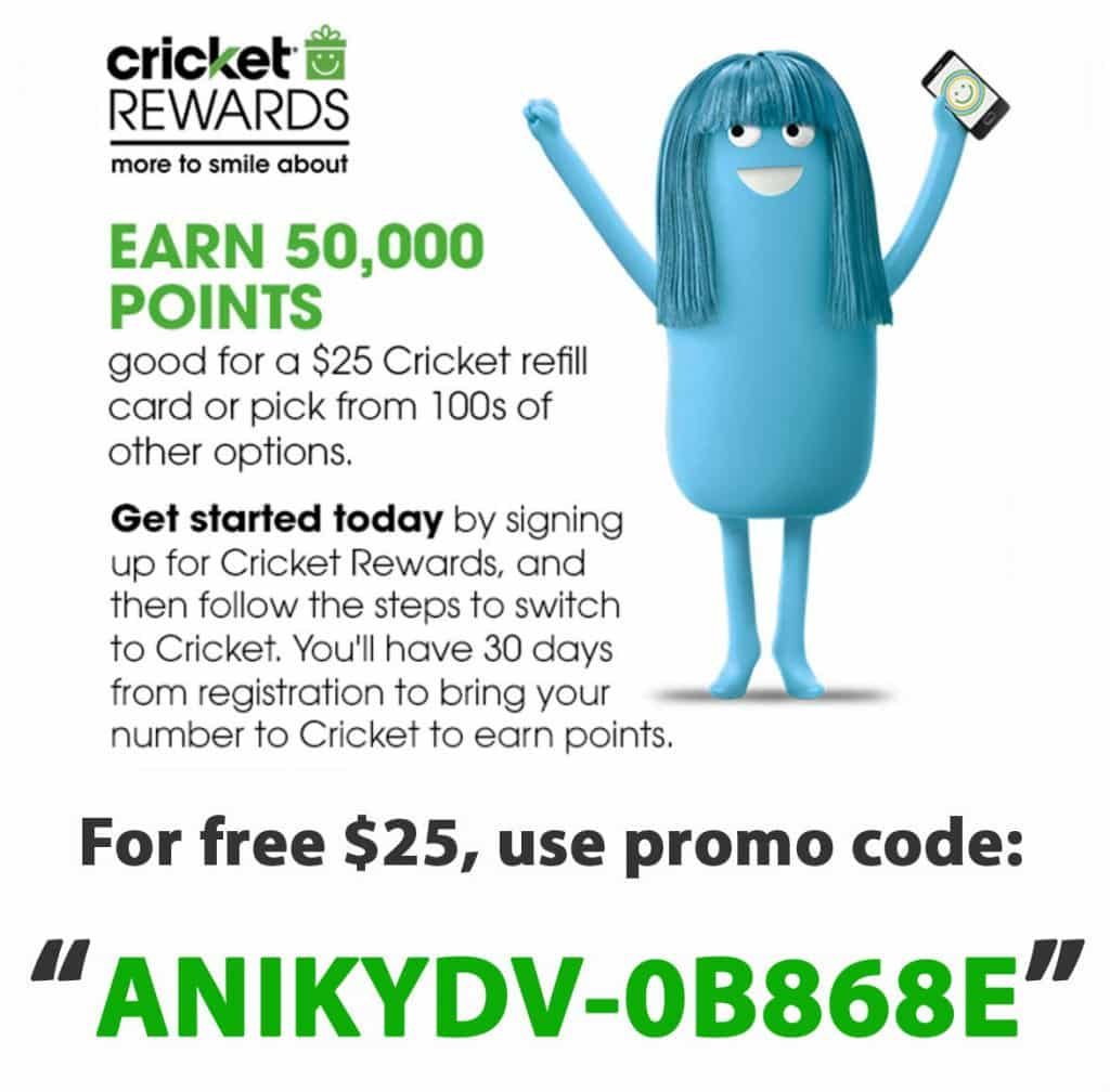 Apply this cricket rewards referral code when signing up, get 50000 M points worth $25 Cricket Refill Giftcard!