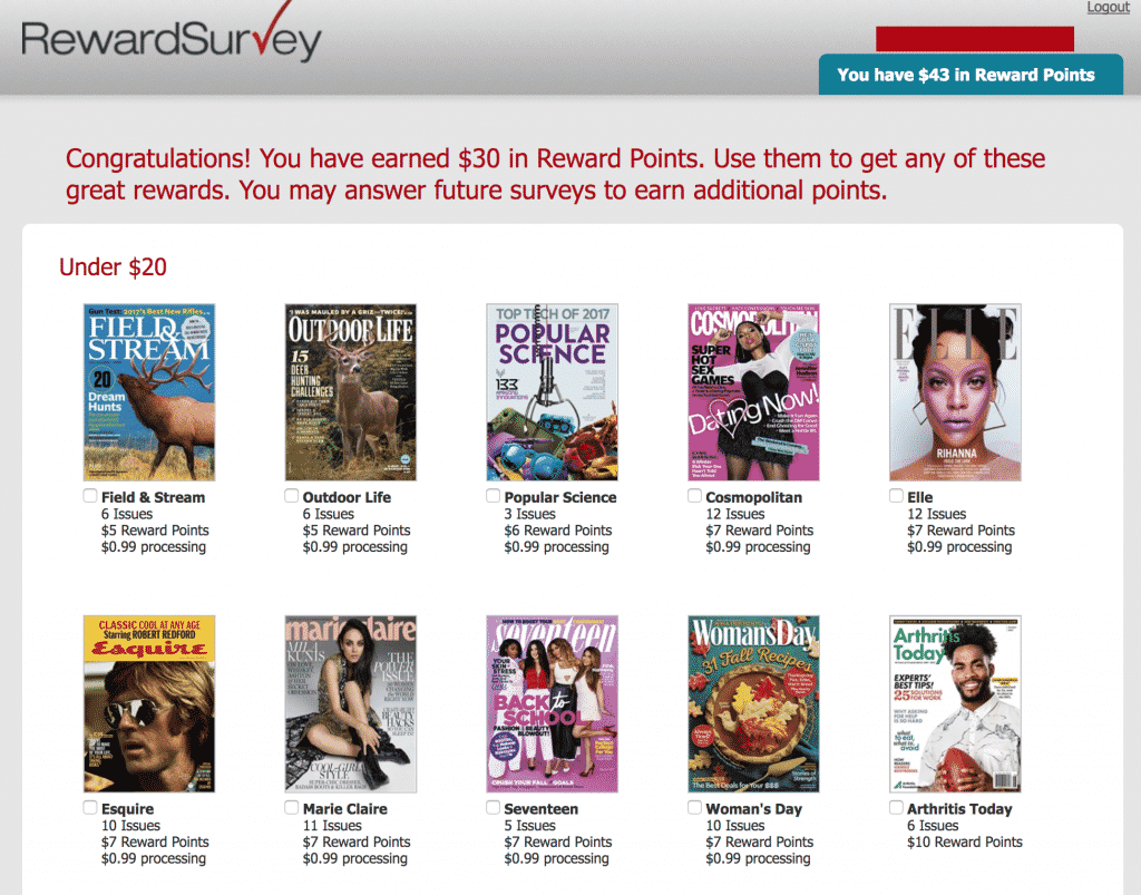 rewardsurvey magazines